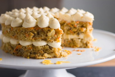 Carrot Cake with Meyer Lemon Cream Cheese Frosting